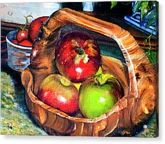 Apples In A Burled Bowl Acrylic Print