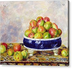 Apples In A Dish Acrylic Print by  Pierre Auguste Renoir