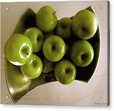 Apples In A Silver Vase 2 Acrylic Print by Fanny Diaz