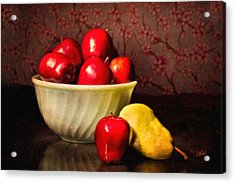 Apples In Bowl With Pear Acrylic Print