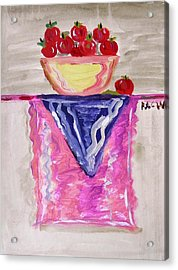 Acrylic Print featuring the painting Apples On Table With Colorful Scarf by Mary Carol Williams