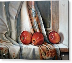 Apples On The Windowsill Acrylic Print by William Albanese Sr