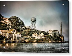 Approaching Alcatraz Island And Water Tower  Acrylic Print by Jennifer Rondinelli Reilly - Fine Art Photography