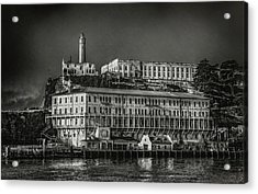 Approaching Alcatraz Island In Black And White Acrylic Print by Jennifer Rondinelli Reilly - Fine Art Photography