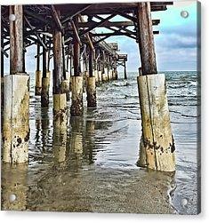 Approaching Dusk - Cocoa Beach Pier Pylons - 1a Acrylic Print
