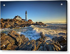 Acrylic Print featuring the photograph April Morning At Portland Head by Rick Berk