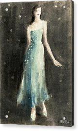 Aqua Blue Evening Dress Acrylic Print by Beverly Brown