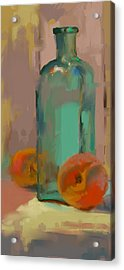 Aqua Bottle Acrylic Print by Donna Shortt
