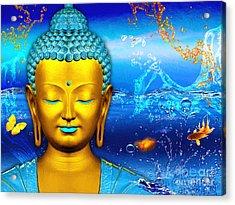 Aqua Buddha Acrylic Print by Khalil Houri