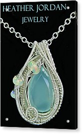 Aqua Chalcedony Wire-wrapped Pendant In Sterling Silver With Ethiopian Welo Opals Qchlcpss1 Acrylic Print