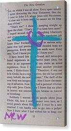 Aqua Cross On 35 Acrylic Print by Mary Carol Williams