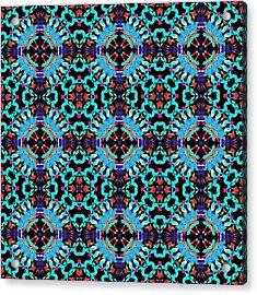 Aqua Geometric Mandala Acrylic Print