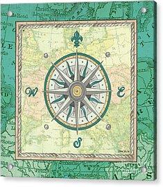 Aqua Maritime Compass Acrylic Print by Debbie DeWitt