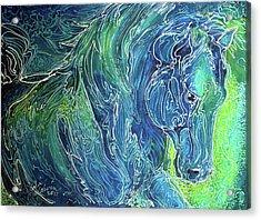 Aqua Mist Equine Abstract Acrylic Print by Marcia Baldwin