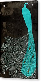 Aqua Peacock Art Nouveau Acrylic Print