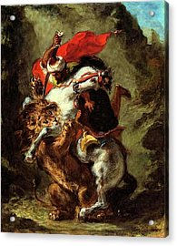 Acrylic Print featuring the painting Arab Horseman Attacked By A Lion by Eugene Delacroix