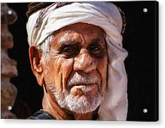 Arabian Old Man Acrylic Print by Vincent Monozlay