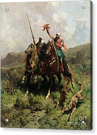 Arabs With A Falcon Acrylic Print by Alberto Pasini