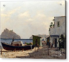 Acrylic Print featuring the painting Aragonese's Castle - Island Of Ischia by Rosario Piazza