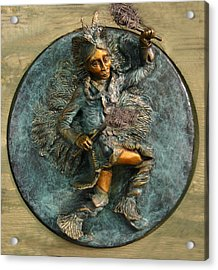 Acrylic Print featuring the relief Arapaho Dancer From Snowy Range Life  by Dawn Senior-Trask