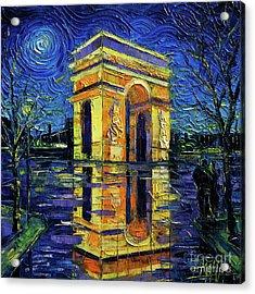 Arc De Triomphe Paris Mirroring Modern Impressionist Impasto Cityscape Oil Painting Acrylic Print