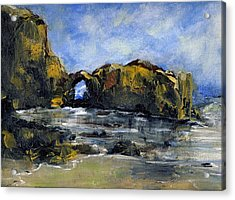 Arch At Pearl Beach Over Cast Acrylic Print by Randy Sprout