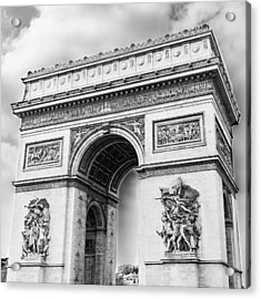 Arch Of Triumph - Paris - Black And White Acrylic Print