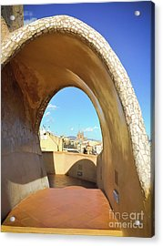 Acrylic Print featuring the photograph Arch On The Rooftop Of The Casa Mila by Colleen Kammerer