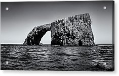 Acrylic Print featuring the photograph Arch Rock Three In Black And White by Endre Balogh