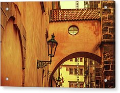 Acrylic Print featuring the photograph Arch Way In Old Town. Series Golden Prague by Jenny Rainbow