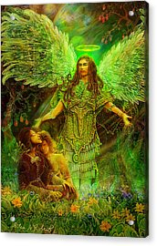 Acrylic Print featuring the painting Archangel Raphael by Steve Roberts