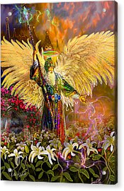Acrylic Print featuring the painting Archangel Raziel-angel Tarot Card by Steve Roberts