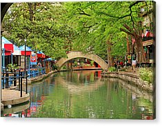 Acrylic Print featuring the photograph Arched Bridge Reflection - San Antonio by Art Block Collections