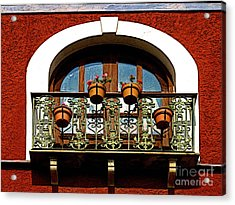 Arched Window With Flowers Acrylic Print by Mexicolors Art Photography
