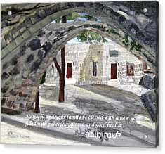 Acrylic Print featuring the painting Arches At Ein Hod by Linda Feinberg