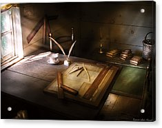 Architect - The Drafting Table  Acrylic Print by Mike Savad