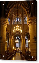 Architectural Artwork Within Notre Dame In Paris France Acrylic Print