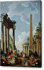 Architectural Capriccio With A Preacher In The Ruins Acrylic Print by Giovanni Paolo Pannini or Panini