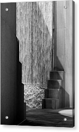 Architectural Waterfall In Black And White Acrylic Print