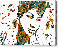 Aretha Franklin Paint Splatter Acrylic Print