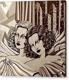 Arielle And Gabrielle In Sepia Tone Acrylic Print by Tara Hutton