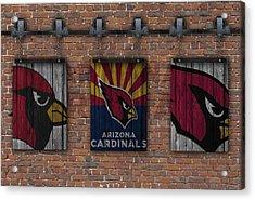 Arizona Cardinals Brick Wall Acrylic Print by Joe Hamilton