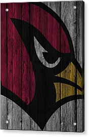 Arizona Cardinals Wood Fence Acrylic Print