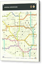 Arizona Map Acrylic Print by Jazzberry Blue