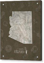 Arizona Map Music Notes 3 Acrylic Print