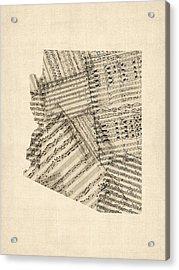 Arizona Map, Old Sheet Music Map Acrylic Print by Michael Tompsett
