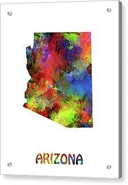 Arizona Map Watercolor Acrylic Print