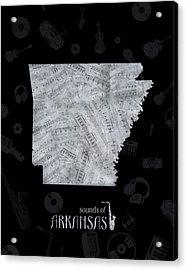 Arkansas Map Music Notes 2 Acrylic Print