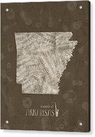Arkansas Map Music Notes 3 Acrylic Print