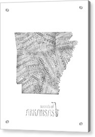Arkansas Map Music Notes Acrylic Print